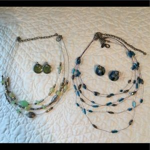 Two Chico's Fishline Necklaces w/Matching Earrings